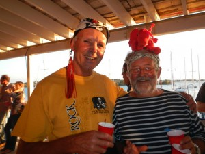 Johann and Dennis ... with his Pirate Parrot dragon on his head ... just because it would not stay on his shoulder! Ha!