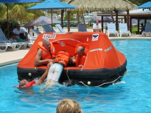 Getting into the life raft from sea