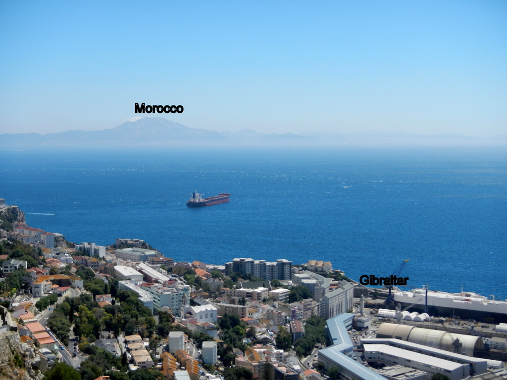 Morocco in the distance - taken from Gibraltar Rock