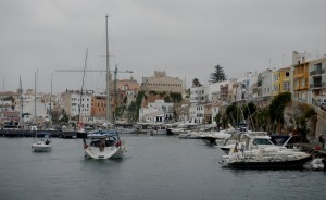 Ciutadella Harbour entrance - on our way to the fuel dock!