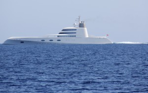 The yacht called  A   ...  passing us on our way to Ibiza