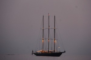 A three masted schooner in Formentera