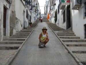 The most famous street in Altea ... steep and a long way up to the church!