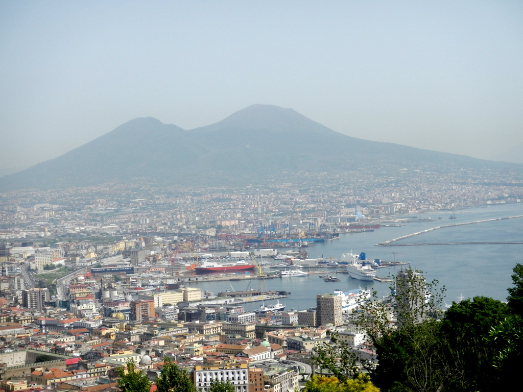 Naples with Mt Vesuvius in the background