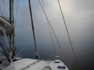 Misty... almost spooky conditions on glassy water as we left Sicily