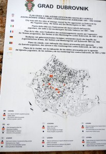 The black dots are areas / roofs that has been bombed and damaged and the orange indicated where a building has burned down during the Serbian bomb attack in 1992