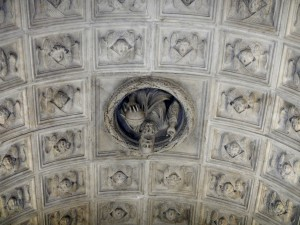 Amazing ceiling of this chapel - with God looking down, surrounded by angel faces