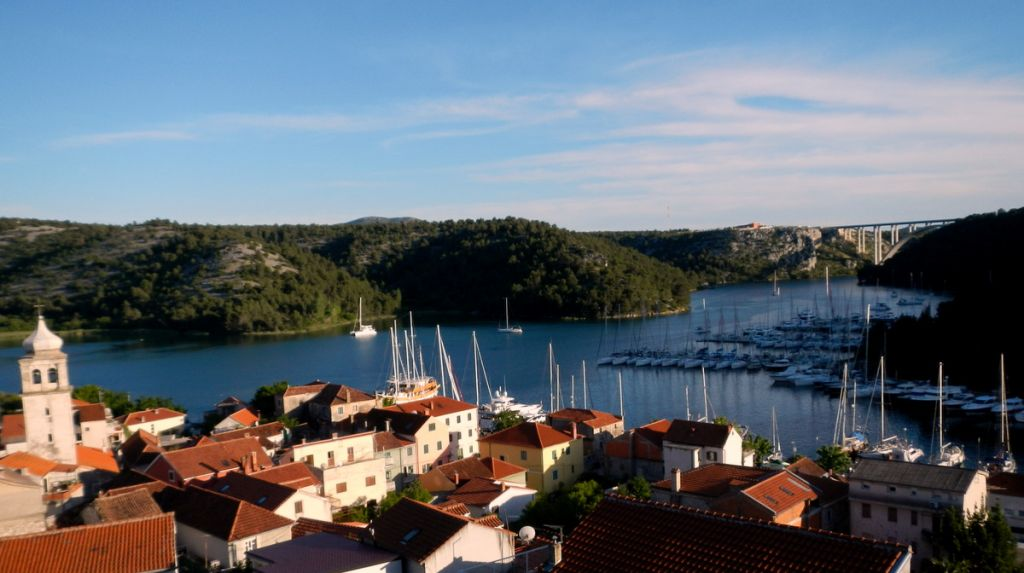Skradin - with Scolamanzi middle back at anchor and the Krka Bridge in the back ground