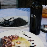 Black Risotto (our first and best!!) and octopus salad and a local red wine