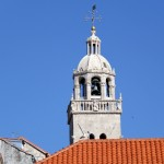 The majestic bell tower of the church in Korcula provides a great view over the town