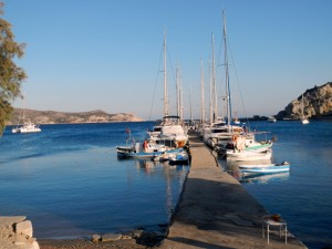 Scolamanzi on the left hand side ... and the dock at Knidos...