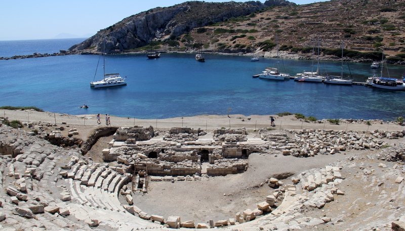 Knidos - with Scolamanzi anchored in clear blue water